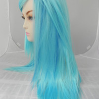 HAPPY HOLIDAYS SALE / Cotton Candy Blue and Aqua Blue / Long Straight Layered Wig