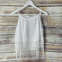Kari Off White Crochet Tank