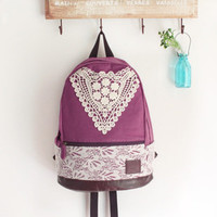 Purple Backpack with Crochet Detail