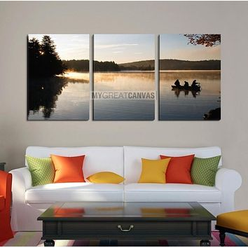 Large Wall Art Canvas Lake in Forest with Fishermen on Boat