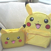 """Pokemon Pikachu 16"""" with Ears Backpack,Lunchbox with Ears Combo-New with tags!"""