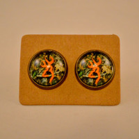 Redneck Jewelry/ Country Jewelry/ Cameo Orange Browning Antique Bronze Stud Earrings