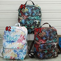 LV Louis Vuitton color tie-dye letters mens and womens large-capacity backpack school bag luggage bag travel bag Daypack