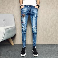 New 2018 Blue Men Jeans Slim Fit Casual Pants Man Korean Style Stretch Ripped Mens Skinny Jeans Hiphop Fashion Trousers Male