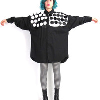 80s Black Leather Polka Dot Shirt Pop Art Unisex Mens Button Down Shirt Patchwork Leather Top Collared Oversize Cotton Shirt (M/L/XL)