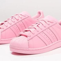 "Fashion Shell-toe ""Adidas"" Flats Sneakers Sport Shoes Pure color Pink"