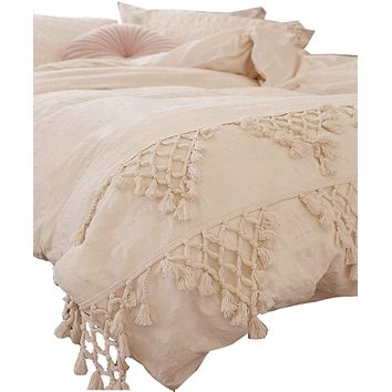 Flber Tufted Tassel Duvet Cover Lattice Boho Bedding,Full Queen, 86inx90in Ivory
