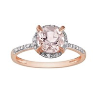 10k Rose Gold Morganite & Diamond Accent Ring (Pink)
