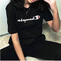 Champion classic cursive logo round neck loose men and women short-sleeved T-shirt