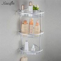 Xueqin Free Shipping Space Aluminum Bathroom Corner Shelf Triangular Shower Shampoo Soap Cosmetic Storage Shelves Rack