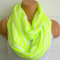 Striped Neon Green Infinity Scarf, chiffon neon green and white scarf,Loop Scarf,Circle Scarf,Cowl Scarf,Nomad Cowl....Striped Scarf
