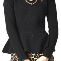 Grab attention in this Peplum Sensation Sweater! This chic sweater top features peplum at the waist, round neckline, long sleeves. Pair with high waist leather shorts, maxi skirt or black skinny jeans.
