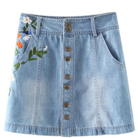 Blue Lightwash High Waist Embroidery Denim Mini Skirt