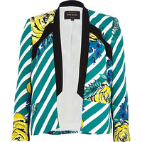 River Island Womens Teal striped floral print blazer