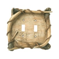 Big Sky Birch & Antler Switch Plate - Double