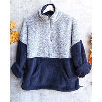 Final Sale - Two Tone Sherpa Half-Zip Pullover in Blue/Navy