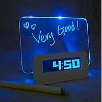HOT SALE Blue Led alarm clock with Message Board Calendar thermometer lazybones Alarm Clock = 1753786308