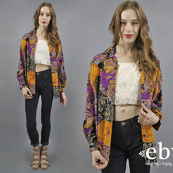 Oversized Shirt Oversized 90s Shirt 1990s Shirt Button Up Blouse Button up Shirt 90s Button Up Oversized Top Lightweight Top Rayon Blouse L