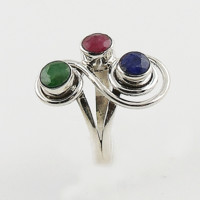 Sapphire, Ruby & Emerald Sterling Silver Swirl Ring
