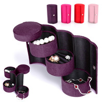 Stylish Retro Velvet Jewelry Box Three-Layer Roll-up Snap Travel Organizer Storage Holder