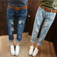 NEW 2016 Korean Loose thin hole Women's Jeans pants female harem Trousers Casual  Clothings for Cute woman Ladies J2110