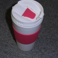Oggi Hot to Trot Double Walled 16-Ounce Travel Mug, Pink Lid