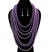 Violet Multi Strand Layered Pearl Necklace Set