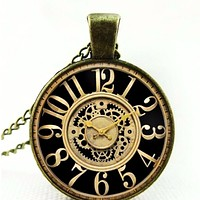 Antique Bronze Clock Cabochon Necklace