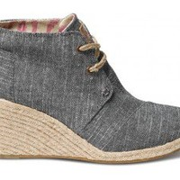 TOMS Shoes Black Chambray Desert Wedges Closed Toe Women's Heels,