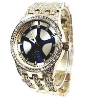 Techno Pave Gold Finish Iced Out Lab Diamond Round Blue Face Mens Watch Metal Iced Band Bling 8558