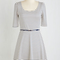 Nautical Short Length 3 A-line Colorful Confidence Dress in White