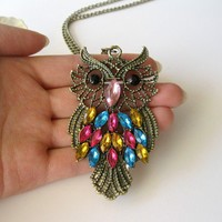 Colorful feather Retro copper owl necklace | foreveryouth - Jewelry on ArtFire