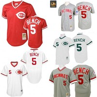 Grey 1969 Throwback Johnny Bench Authentic Jersey , Men's #5 Mitchell And Ness Cincinnati Reds 1990 Turn Back The Clock