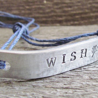 WISH Friendship Bracelet ONE Hand Stamped Jewelry Name Tie On Hemp Cord Personalized Jewelry Inspirational Inspire Inspiring
