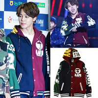 Kpop Fashion uniform BTS Jimin baseball hoodie cotton coat with hat