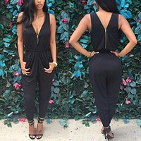Brand 2016 Summer Elegant Womens Rompers Jumpsuit Casual Solid Bodysuit Sleeveless Crew Neck Long Playsuits Plus Size