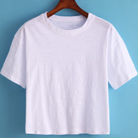 White Round Neck Short Sleeve Crop T-Shirt -SheIn(Sheinside)
