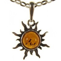 "BALTIC AMBER AND STERLING SILVER 925 SUN PENDANT NECKLACE JEWELLERY JEWELRY WITH inch 14""/35cm, 16""/40cm, 18""/45cm, 20""/50cm, 22""/55cm, 24""/60cm, 26""/65cm, 28""/70cm, 30""/75cm, 32""/80cm, 34""/85cm 1mm THICK STERLING SILVER 925 STAMPED ITALIAN DESIGNER SNAKE"
