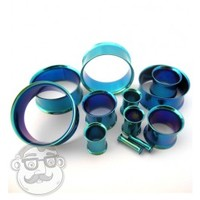 Green Stainless Steel Double Flare Tunnels (8 Gauge - 1 Inch) | UrbanBodyJewelry.com