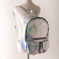 Cool Backpack school Cool Women's Rainbow Colorful Hologram Backpacks Laser Silver Color Holographic Mirror Mini Shoulder Bags for Girls AT_52_3