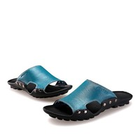 Genuine Leather Slippers Mens Sandals