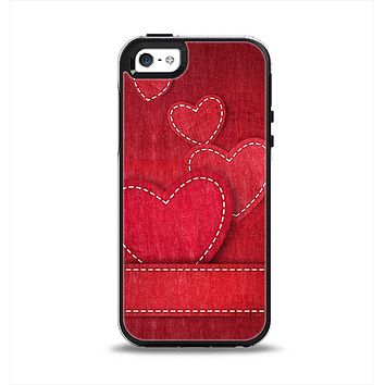 The Pocket with Red Scratched Hearts Apple iPhone 5-5s Otterbox Symmetry Case Skin Set