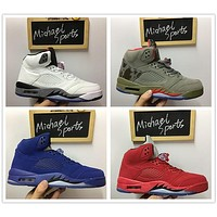 Air Jordan retro 5 red blue suede white cement camo 2017 new colorway basketball shoes
