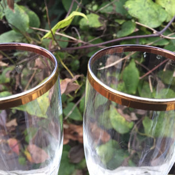 vintage glassware, gold rimmed champagne flutes, wedding/ engagement toasting, vintage bar cart glasses  gold rimmed champagne glasses