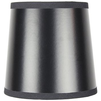 """6""""W x 5""""H Black Parchment Gold-Lined Drum Chandelier Clip-On Lampshade"""