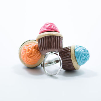 3 Colorful Cupcake Rings, Polymer Clay Ring, Bow Ring