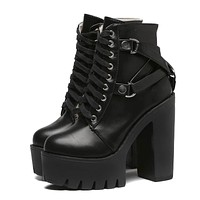 Lace-up Soft Leather Platform Ankle High Heels Boots