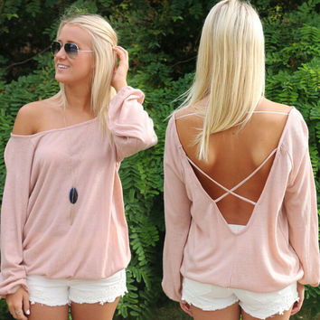 Sexy backless pure color long sleeve T-shirt   6717EY