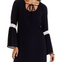 Navy Tie-Front Bell Sleeve Shift Dress by Charlotte Russe