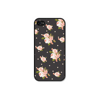 Peach Floral iPhone 4 Case - iPhone 4 Cover - Grey Pastel, Coral and Pink Floral iPhone 4 Skin - Cell Phone Floral iPhone Case